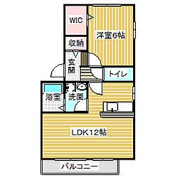 愛知県名古屋市中川区戸田明正2丁目の賃貸アパートの間取り