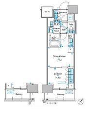 東京メトロ有楽町線 豊洲駅 徒歩9分の賃貸マンション 6階1DKの間取り