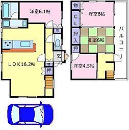 南海高野線 北野田駅 徒歩10分の賃貸一戸建て 1階4LDKの間取り