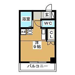 アートヒルズ 10階ワンルームの間取り