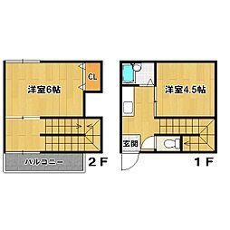JR京浜東北・根岸線 田端駅 徒歩10分の賃貸テラスハウス 2Kの間取り