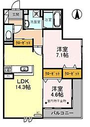 (仮称)D-room熊野町4丁目 3階2LDKの間取り