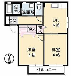 ファミーユ中野A棟[1階]の間取り