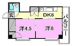 愛媛県松山市小坂4丁目の賃貸マンションの間取り