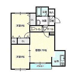 北海道函館市宝来町の賃貸マンションの間取り