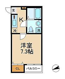 千葉県松戸市南花島3丁目の賃貸アパートの間取り