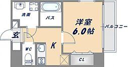 uro北巽 7階1Kの間取り
