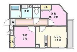愛知県名古屋市名東区西里町4丁目の賃貸マンションの間取り