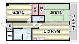 JR播但線 野里駅 バス10分 竹ヶ端下車 徒歩1分の賃貸マンション 1階2LDKの間取り
