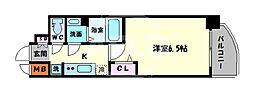 ララプレイス天王寺ルフレ 4階1Kの間取り