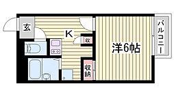 JR播但線 野里駅 徒歩23分の賃貸アパート 1階1Kの間取り