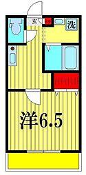 三郷中央キャスト壱番館 3階1Kの間取り