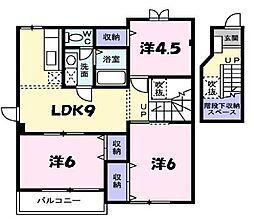 兵庫県篠山市中野の賃貸アパートの間取り