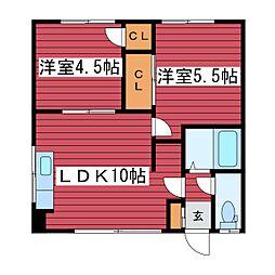 八十島マンション[1階]の間取り