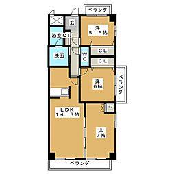 ガーデンシティ北名古屋[4階]の間取り