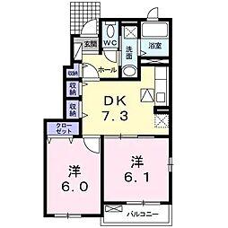 JR鹿児島本線 伊集院駅 徒歩15分の賃貸アパート 1階2DKの間取り