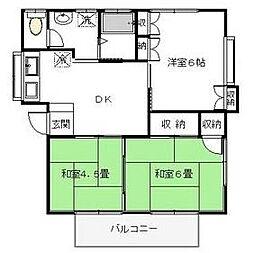 栃木県宇都宮市緑5丁目の賃貸アパートの間取り