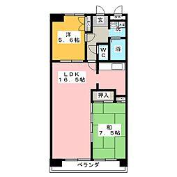 ユーハイムカシワバラ[2階]の間取り