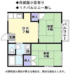 JR東海道・山陽本線 稲枝駅 徒歩8分の賃貸アパート 2階2DKの間取り