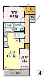 広島県福山市入船町2丁目の賃貸アパートの間取り