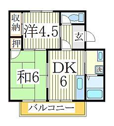 ホーリーハイツ3号棟[1階]の間取り