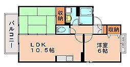 福岡県福岡市南区柏原6丁目の賃貸アパートの間取り