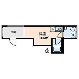 KOSTIC MINOWA 4階ワンルームの間取り