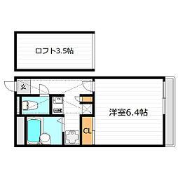 大阪府交野市大字星田の賃貸アパートの間取り