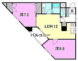 ファミール道後姫塚[203号室]の間取り