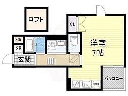 阪急千里線 下新庄駅 徒歩5分の賃貸アパート 2階ワンルームの間取り