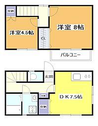 JR中央本線 武蔵小金井駅 徒歩10分の賃貸一戸建て 2DKの間取り