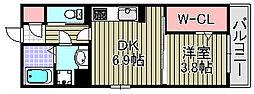ボンシャンス薫風B[102号室]の間取り