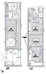 都営浅草線 泉岳寺駅 徒歩2分の賃貸マンション 1階1SLDKの間取り