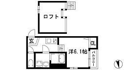 兵庫県川西市小花2丁目の賃貸アパートの間取り