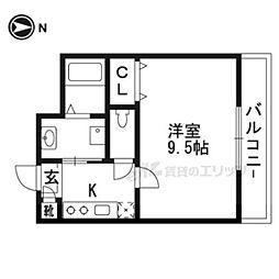 阪急京都本線 桂駅 徒歩23分の賃貸マンション 3階1Kの間取り