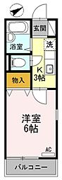 東京都町田市森野5の賃貸アパートの間取り