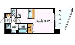 プレサンスザ神戸 1階ワンルームの間取り