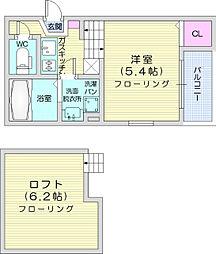 仙台市営南北線 黒松駅 徒歩6分の賃貸アパート 2階1Kの間取り