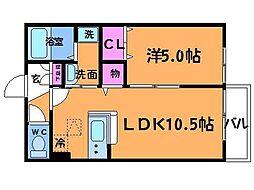 東京都調布市調布ケ丘4丁目の賃貸アパートの間取り