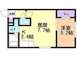 プルミエ栄通19 1階1LDKの間取り