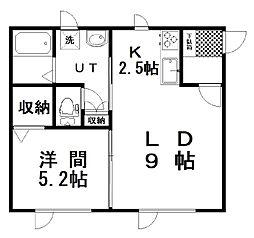 (仮)池田Yアパート 2階1LDKの間取り