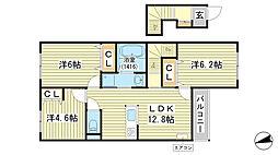 仮称)苫編新築アパート[201号室]の間取り