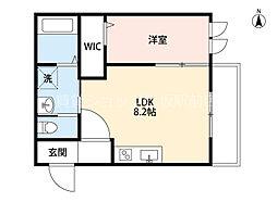 阪急千里線 豊津駅 徒歩3分の賃貸マンション 2階1LDKの間取り