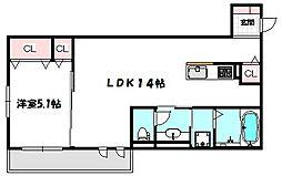 大阪府大阪市旭区生江3丁目の賃貸アパートの間取り