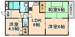 兵庫県伊丹市昆陽5丁目の賃貸マンションの間取り