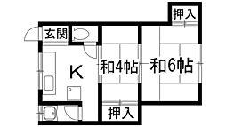 南花屋敷マンション[1階]の間取り