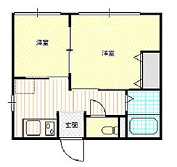 新潟県新発田市住吉町2丁目の賃貸アパートの間取り