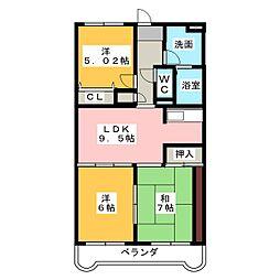 エスペランサ水戸島[1階]の間取り