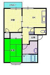 新潟県新潟市北区美里1丁目の賃貸アパートの間取り