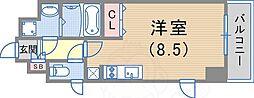スワンズ新神戸ウィータ 6階1Kの間取り
